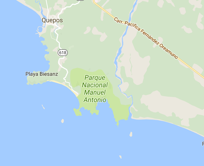 Simple map of Quepos/Manuel Antonio