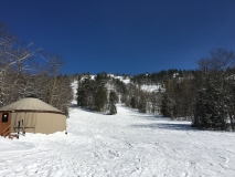View of our yurt at the base of the mountain
